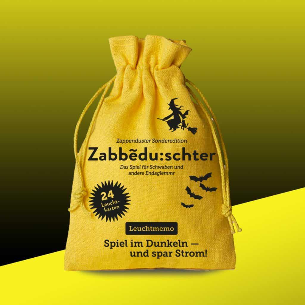 Zappenduster-Schwaben-Memo-Leuchtmemo-Hexe-Zauberer-Kinderspiel-Halloween-Gruselspiel-Sack