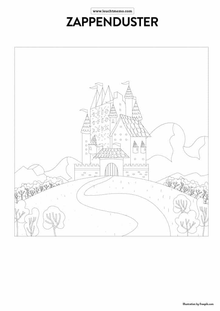 leuchtmemo-zappenduster-ausmalbilder-zauberer-magier-zauberlehrling-mandala-ausmalen-malvorlage-langeweile-zuhause-spielideen-malideen-drache-ritter-schloss