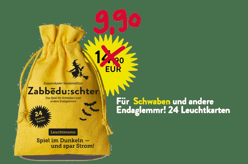 Zappenduster-Schwaben-Memo-Leuchtmemo-Hexe-Zauberer-Kinderspiel-Halloween-Gruselspiel-Sack Reisespiel